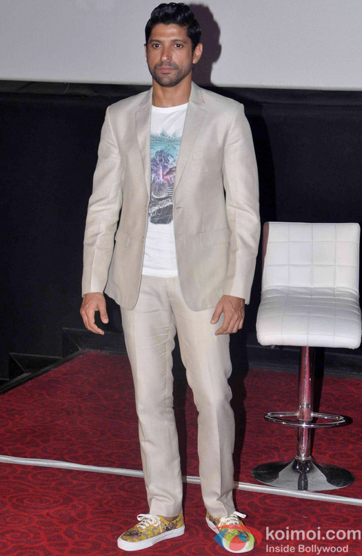 Farhan Akhtar during the first look launch of the movie 'Wazir'