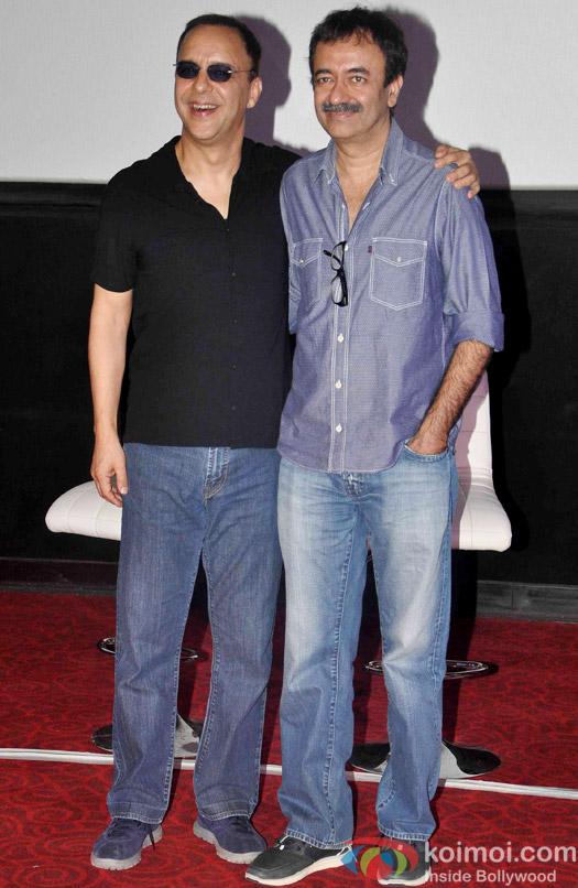 Vidhu Vinod Chopra and Rajkumar Hirani during the first look launch of the movie 'Wazir'