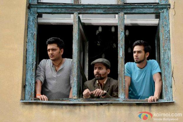 Riteish Deshmukh and Pulkit Samrat in a still from movie 'Bangistan'