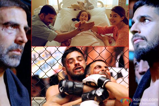 Akshay Kumar, Sidharth Malhotra and Jacqueline Fernandez in a still from movie 'Brothers'