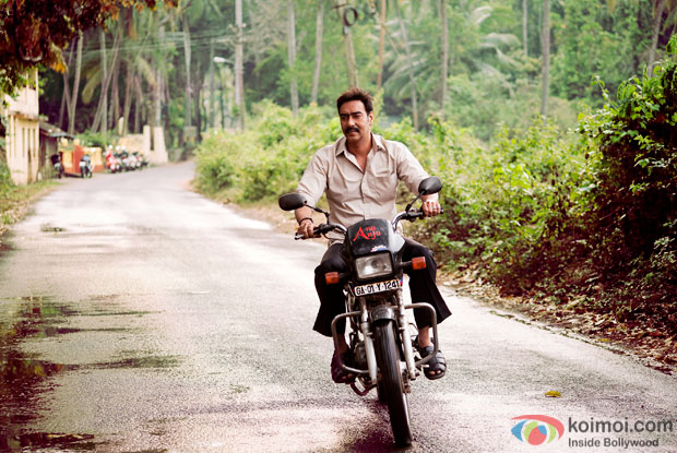 Ajay Devgn in a still from on the sets of movie 'Drishyam'