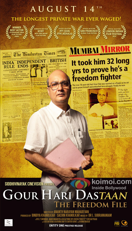 Vinay Pathak in a stiil from 'Gour Hari Dastaan – The Freedom File' movie poster