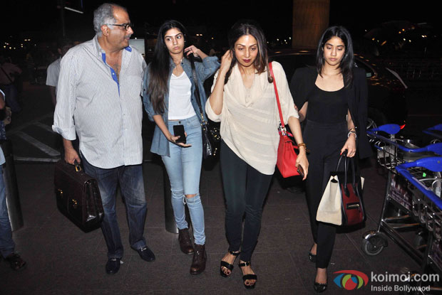Boney Kapoor, Sridevi with daughters Jhanvi and Khushi leave for IIFA 2015