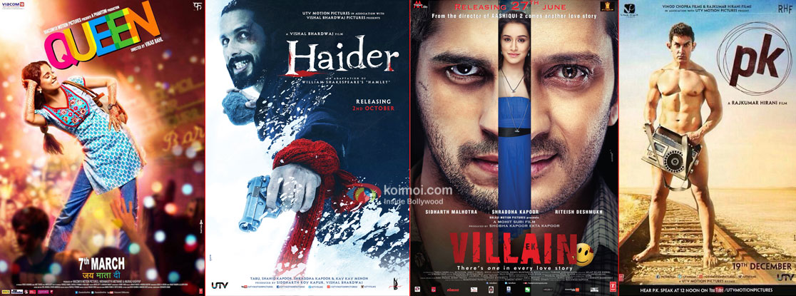 Queen, Haider, Villain and PK movie posters