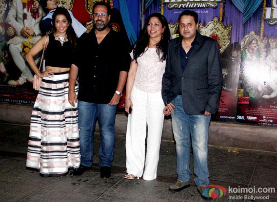 Krishika Lulla, Aanand. L. Rai and Sunil A Lulla during the success bash of movie Tanu Weds Manu Returns