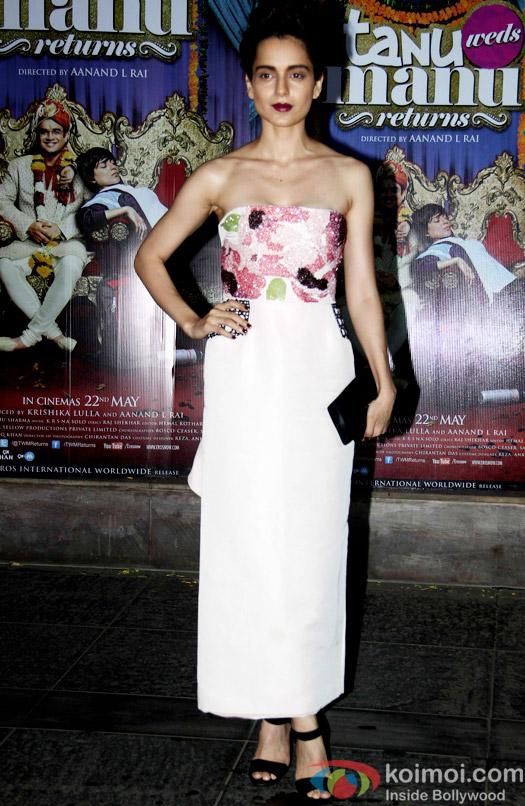 Kangana Ranaut during the success bash of movie Tanu Weds Manu Returns