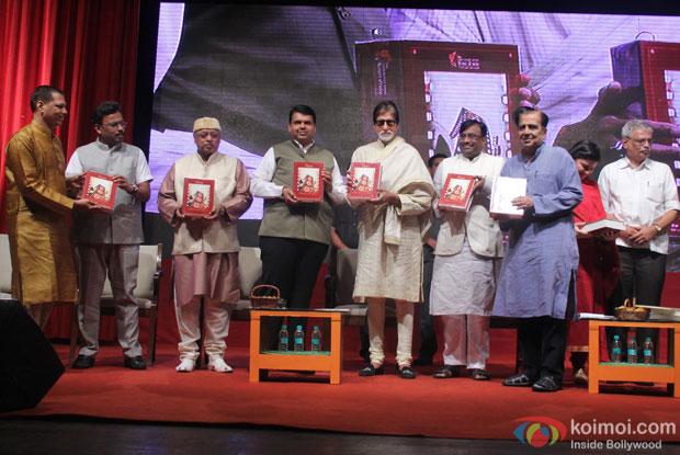 Devendra Fadnavis, Amitabh Bachchan and Sudhir Mungantiwar during the launch of Adhunik Maharashtrachi Jadan Ghadan: Shilpakar Charitrakosh