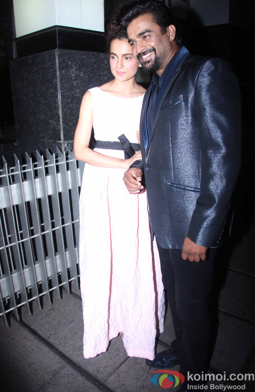 R. Madhavan with Kangna Ranaut during his birthdya bash