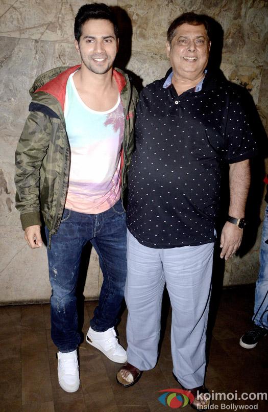 Varun Dhawan and David Dhawan Snapped At Dil Dhadakne Do Special Screening