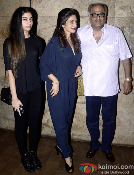 Jahnavi Kapoor, Sridevi and Boney Kapoor Snapped At Dil Dhadakne Do Special Screening