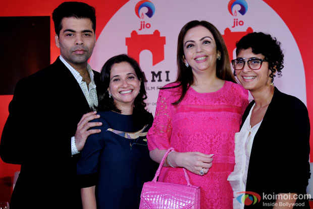 Karan Johar, Nita M. Ambani and Kiran Rao during MUMBAI FILM FESTIVAL 2015