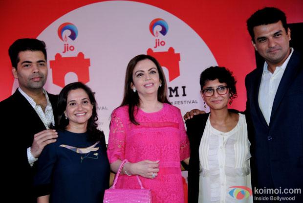 Karan Johar, Nita M. Ambani, Kiran Rao and Siddharth Roy Kapur during MUMBAI FILM FESTIVAL 2015