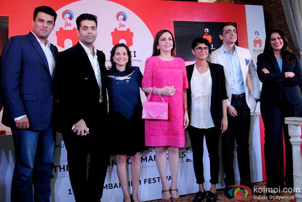 Siddharth Roy Kapur, Karan Johar, Nita M. Ambani and Kiran Rao during MUMBAI FILM FESTIVAL 2015