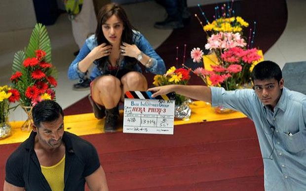 On The Sets : John Abraham and Neha Sharma Shoot For Hera Pheri 3