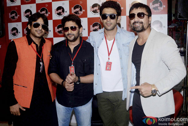 Arshad Warsi, Amit Sadh and Ajaz Khan during the promtion of movie 'Guddu Rangeela' at Fever 104 FM