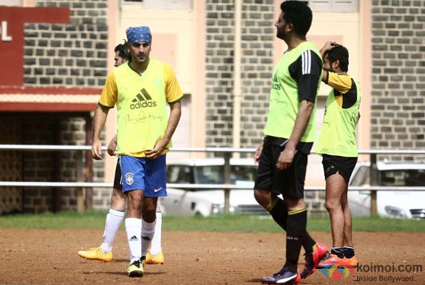 Ranbir Kapoor and Abhishek Bachchan Snapped At Playing Football