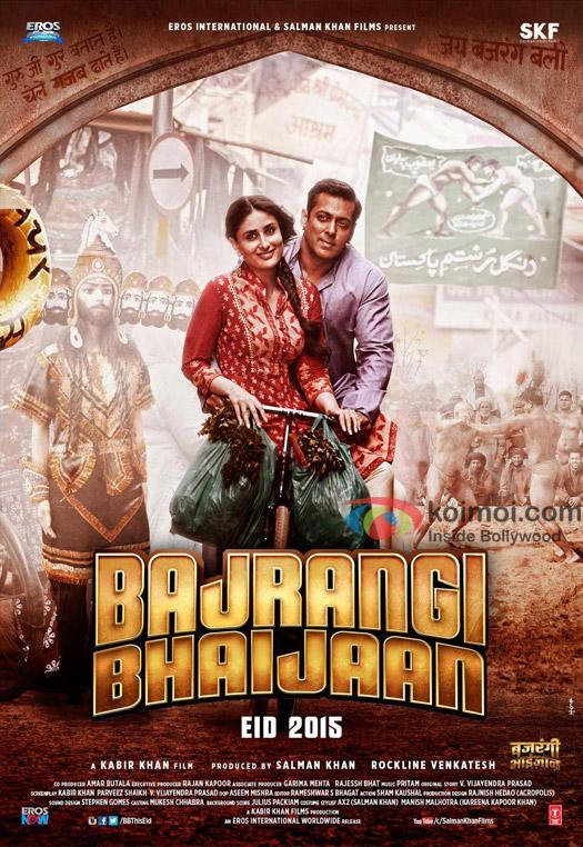 Kareena Kapoor Khan and Salman Khan in a still from 'Bajrangi Bhaijaan' movie poster