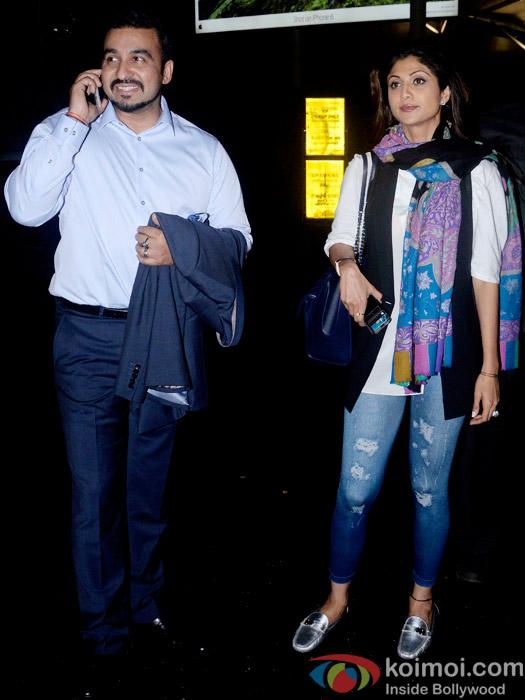 Snapped At Airport : Raj Kundra and Shilpa Shetty