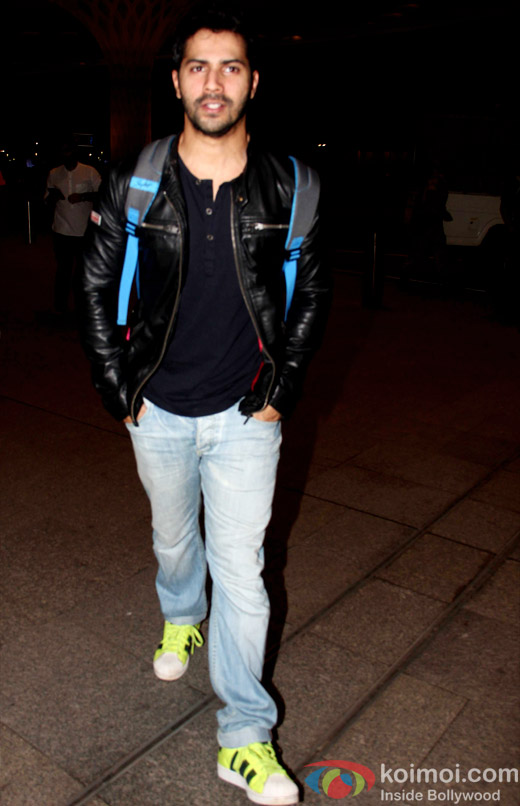 Snapped: Varun Dhawan at international airport leaving for DILWALE shoot