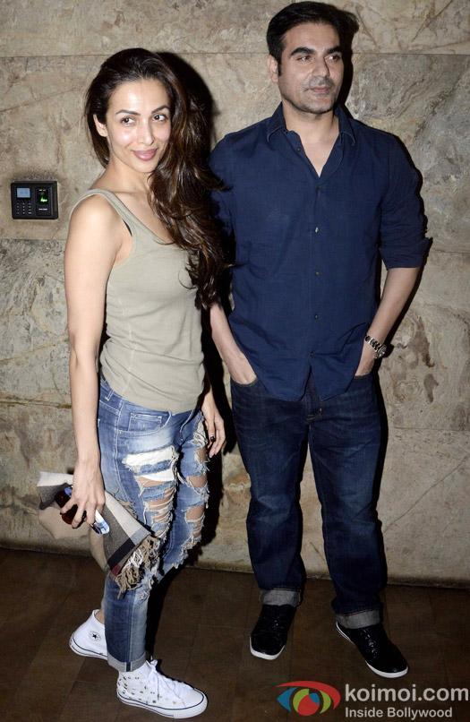 Snapped : Malaika Arora Khan and Arbaaz Khan during the special screening of 'Dil Dhadakne Do'