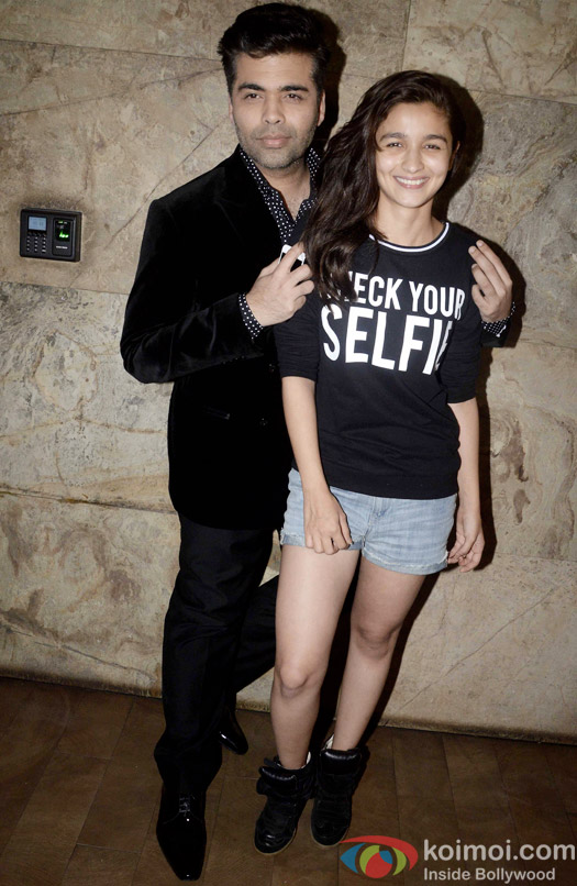 Snapped : Karan Johar and Alia Bhatt during the special screening of 'Dil Dhadakne Do'