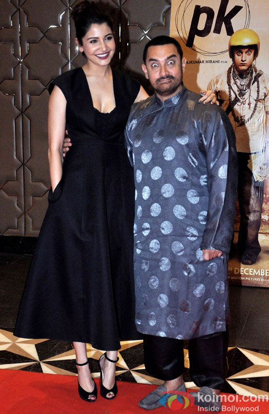 Anushka Sharma and Aamir Khan during the success party of movie 'PK'