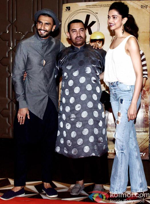 Ranveer Singh, Aamir Khan and Deepika Padukone during the success party of movie 'PK'