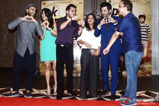 Ranveer Singh, Dolly Sidhwani, Ritesh Sidhwani, Zoya Akhtar, Anil Kapoor and Vidhu Vinod Chopra during the success party of movie 'PK'
