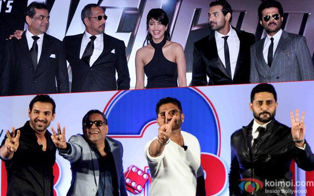 Welcome Back stars  Paresh Rawal, Nana Patekar, Shruti Hasan, John Abraham, Anil Kapoor  and Hera Pheri 3 stars  John Abraham, Paresh Rawal, Suniel Shetty, Abhishek Bachchan