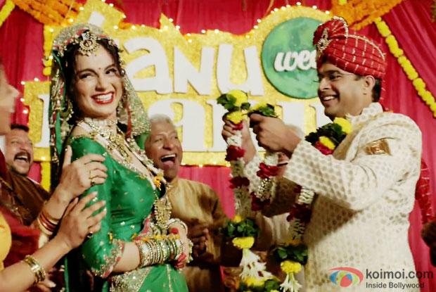 Kangna Ranaut and R. Madhavan in a still from movie 'Tanu Weds Manu Returns'