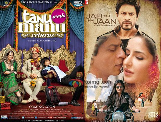 Tanu Weds Manu Returns and Jab Tak Hai Jaan movie posters