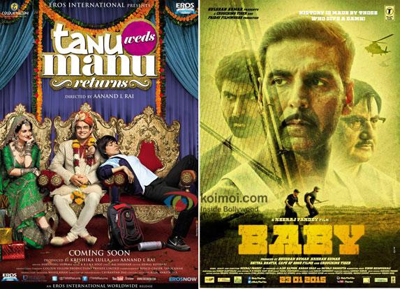 Tanu Weds Manu Returns and Baby movie posters