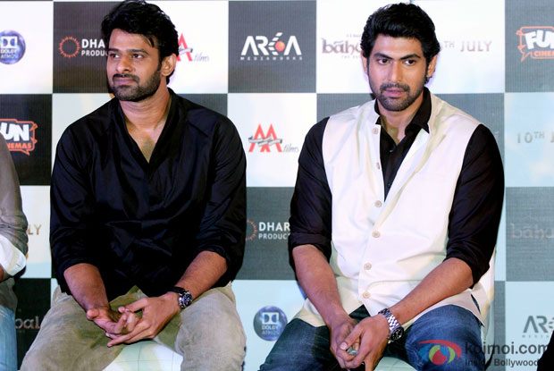 Prabhas and Rana Daggubati during the first look poster launch of  'Baahubali - The Beginning'