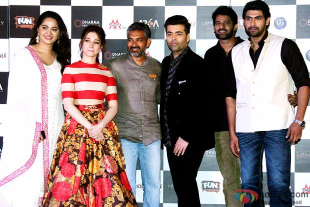 Anushka Shetty, Tamannaah Bhatia, SS Rajamouli, Karan Johar, Prabhas and Rana Daggubati during the first look poster launch of  'Baahubali - The Beginning'