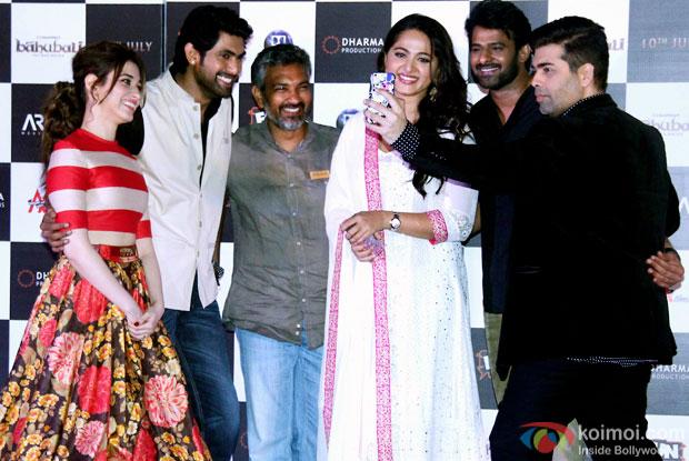 Tamannaah Bhatia, Rana Daggubati, SS Rajamouli, Anushka Shetty, Prabhas and Karan Johar during the first look poster launch of  'Baahubali - The Beginning'