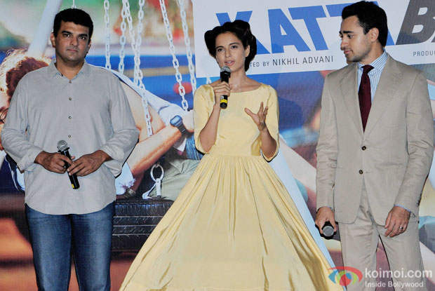 Siddharth Roy Kapur, Kangana Ranaut and Imran Khan during the trailer launch of movie 'Katti Batti'