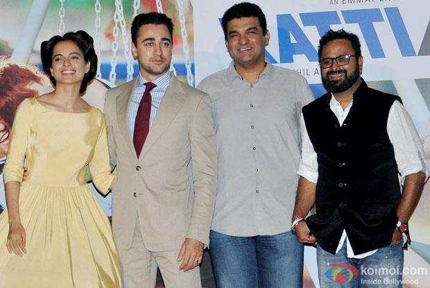 Kangana Ranaut, Imran Khan, Siddharth Roy Kapur and Nikhil Advani during the trailer launch of movie 'Katti Batti'