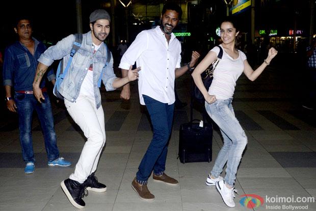 Varun Dhawan, Prabhudeva and Shraddha Kapoor were spotted shaking their leg at the domestic airport