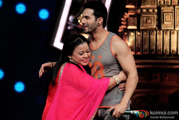 Bharti Singh and Varun Dhawan during the promotion of 'ABCD 2' on the sets of India's Got Talent