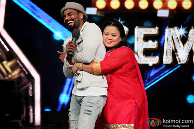 Remo D'souza and Bharti Singh during the promotion of 'ABCD 2' on the sets of India's Got Talent