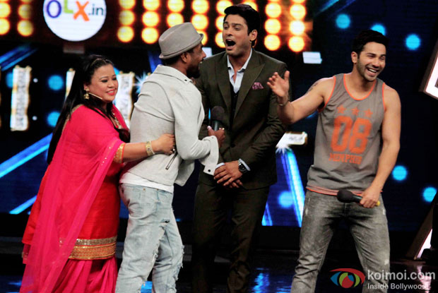 Bharti Singh, Remo D'souza, and Varun Dhawan during the promotion of 'ABCD 2' on the sets of India's Got Talent