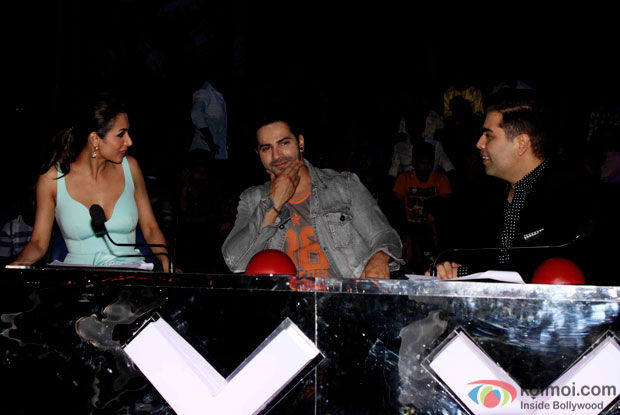Malaika Arora Khan, Varun Dhawan and Karan Johar during the promotion of 'ABCD 2' on the sets of India's Got Talent