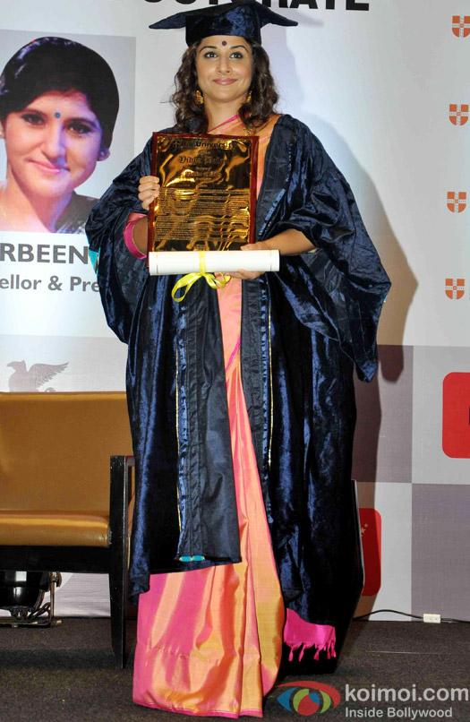 Vidya Balan Conferred  With A Doctor Of Arts Honoris Causa