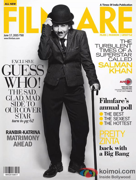 Vidya Balan Turns Charlie Chapllin On Filmfare Cover