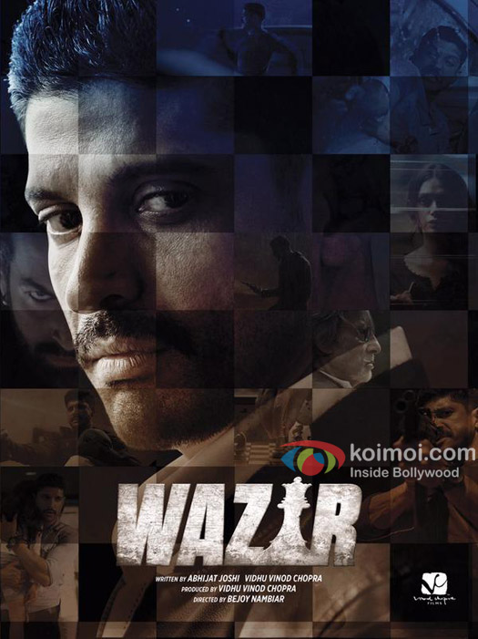 Farhan Akhtar in a 'Wazir' movie poster