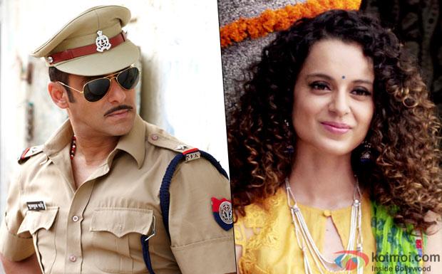 A still from Salman Khan in Dabangg and Kangana Ranaut in Tanu Weds Manu Returns