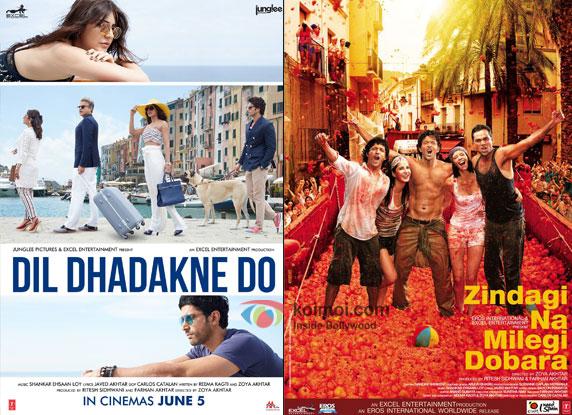 Dil Dhadakne Do and Zindagi Naa Milegi Dobara movie posters