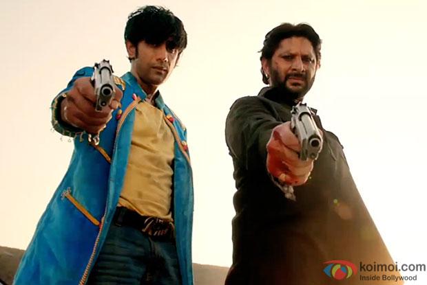 Amit Sadh and Arshad Warsi in a still from movie 'Guddu Rangeela'