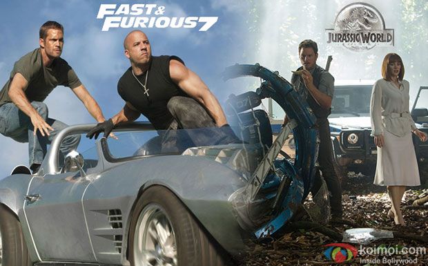 A still from movie 'Fast & Furious 7 and 'Jurassic World'