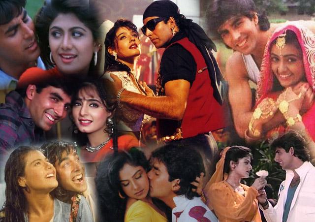 Akshay Kumar in a still from movie Saugandh (1991), Khiladi (1992), Mohra (1994), Yeh Dillagi (1994), Main Khiladi Tu Anari (1994), Jai Kishen (1994) and Amaanat (1994)